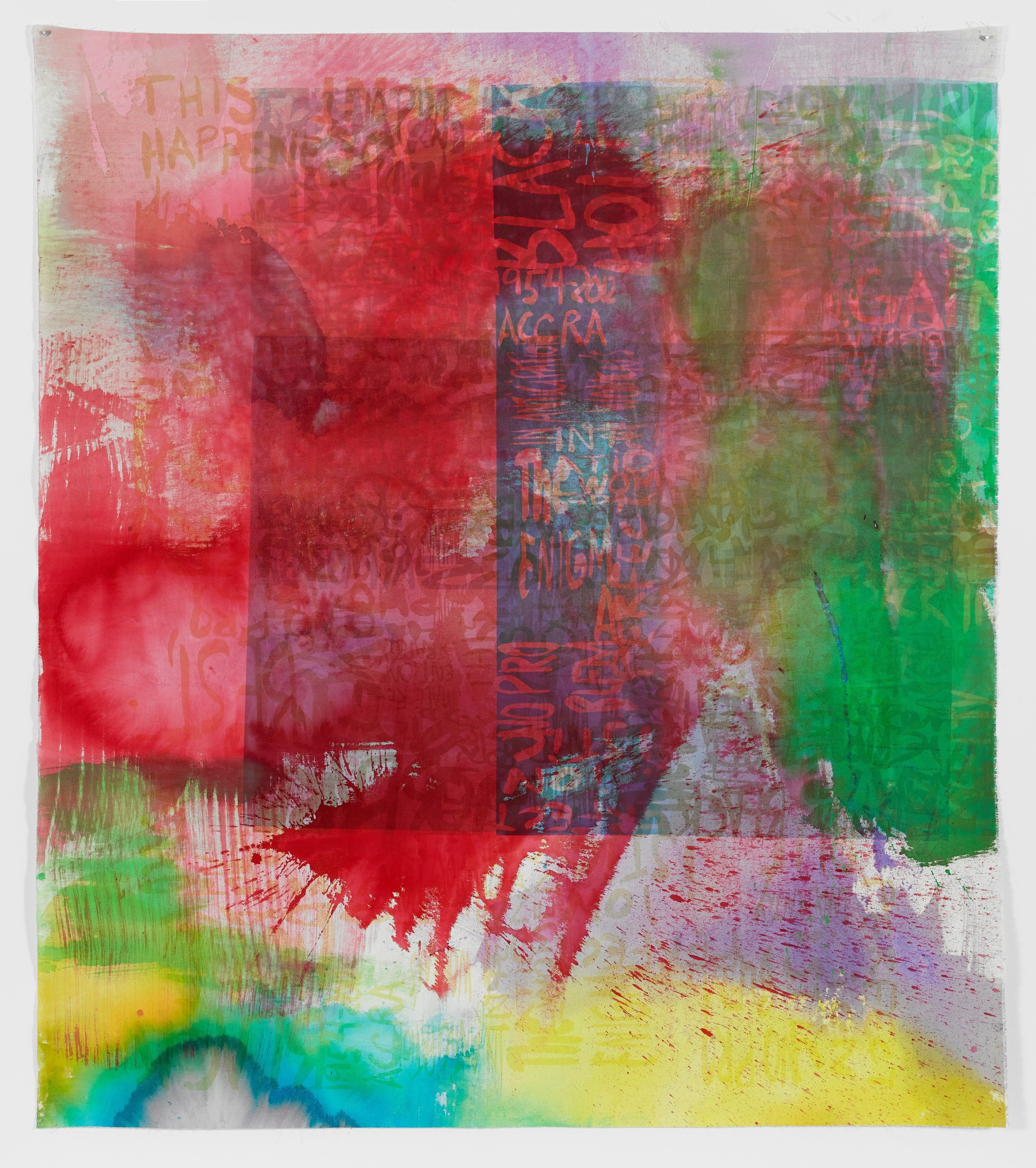 Rochelle Feinstein   Research Park Project: Ll , 2014, Hand painting and screen print on canvas, 80 x 71 inches