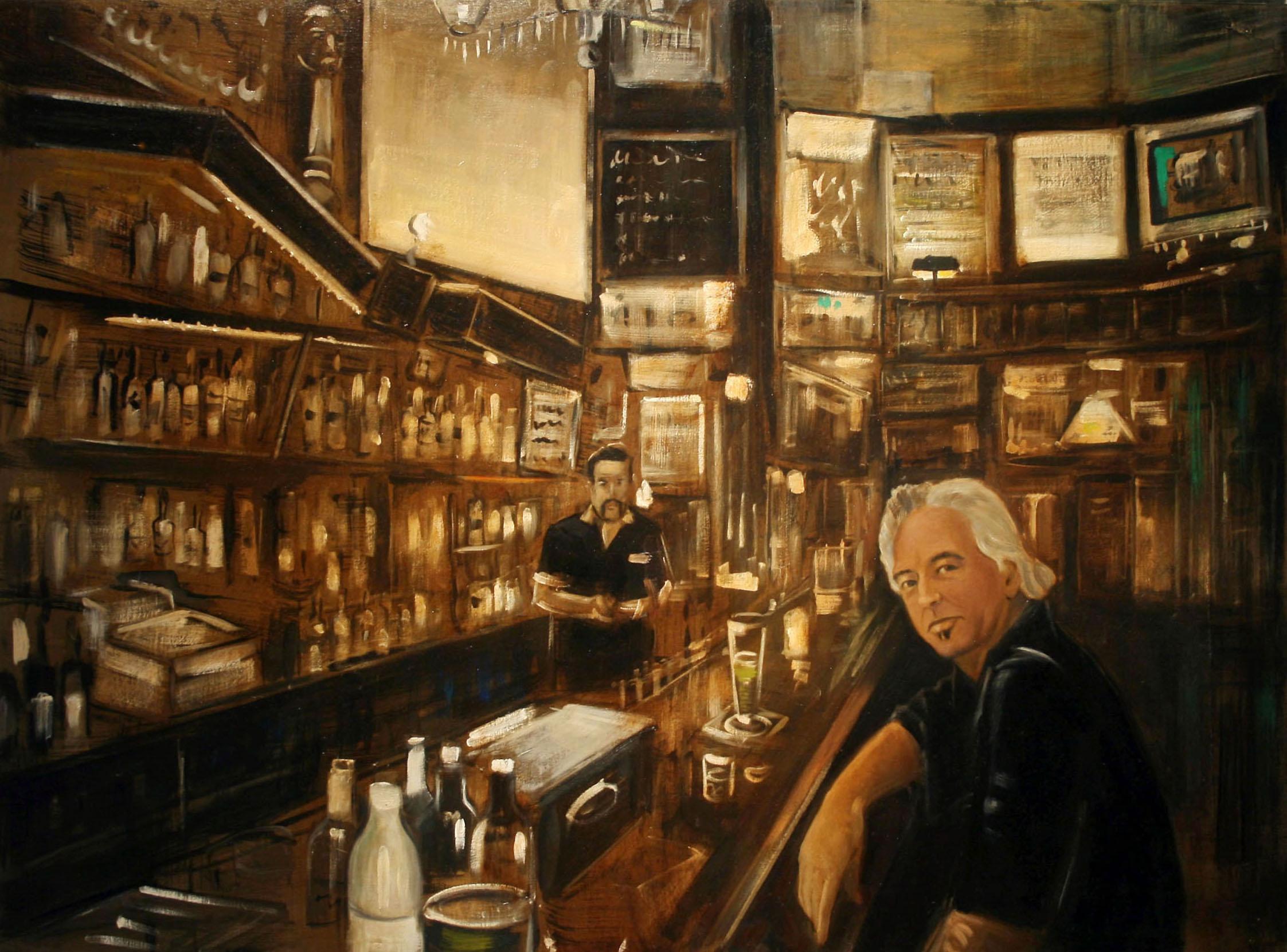 Raul Guerrero  Allen Ruppersberg c. 1999: Vesuvio Café, San Francisco, 2014 Oil on linen 34 x 46 inches (142.2 x 203.2 centimeters)