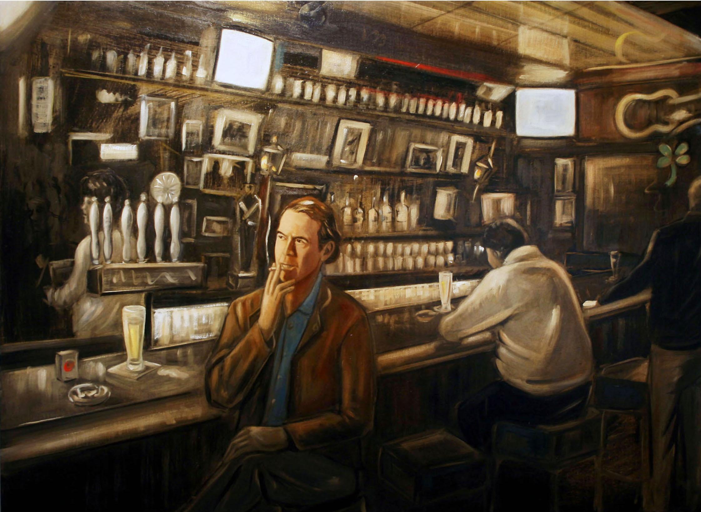 Raul Guerrero  Guy de Cointet c. 1978: Glens of Antrim Bar, Santa Monica, 2014 Oil on linen 34 x 46 inches (86.4 x 116.8 centimeters)