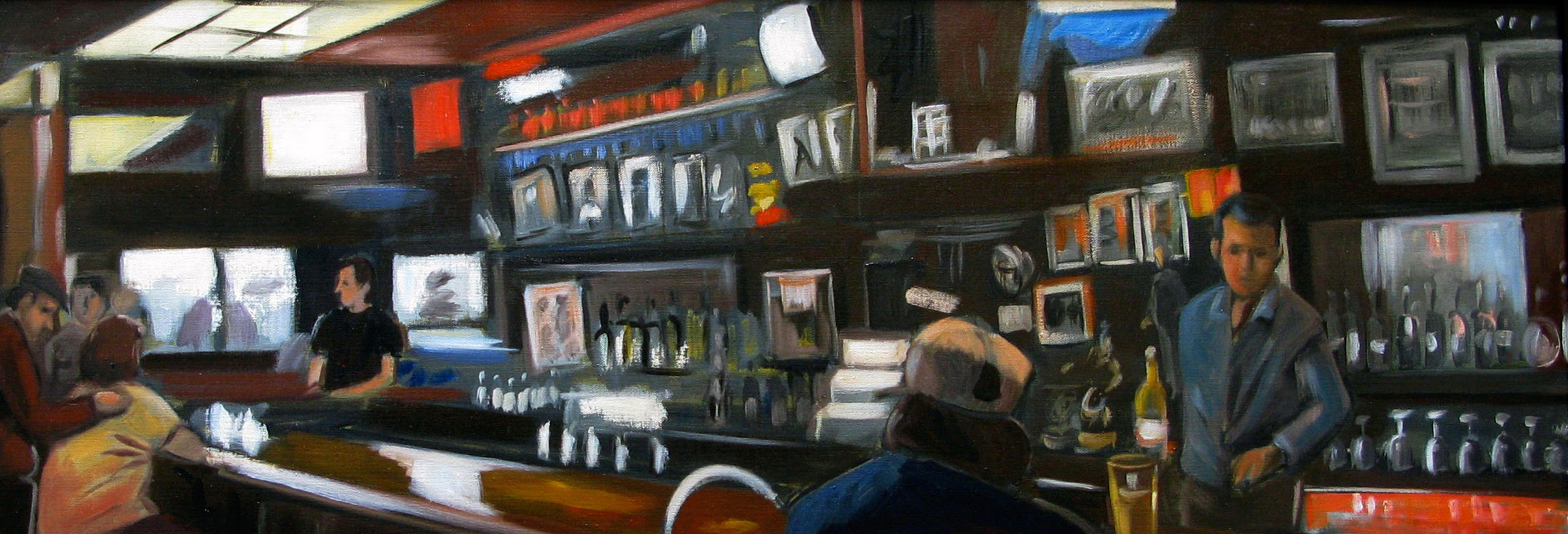 Raul Guerrero  The Alibi: San Diego, 2009  Oil on linen Framed Dimensions: 16 x 46 inches (40.6 x 116.8 centimeters)