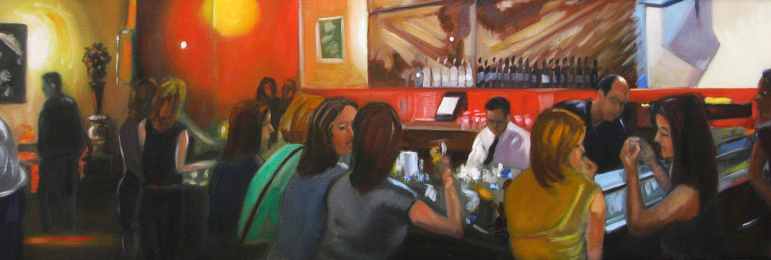 Raul Guerrero  Hal's Bar and Grill: Venice, 2009  Oil on linen 16 x 46 inches (40.6 x 116.8 centimeters)