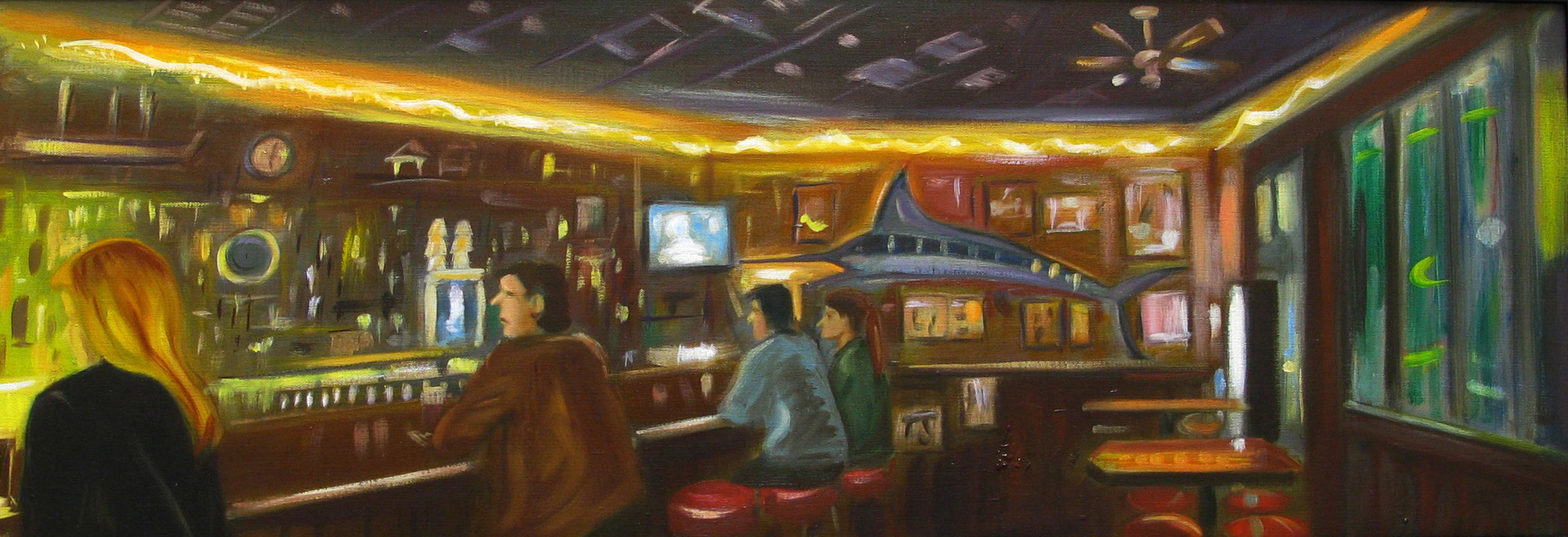 Raul Guerrero  The Waterfront Bar and Grill: San Diego –A, 2009  Oil on linen 16 x 46 inches (40.6 x 116.8 centimeters)