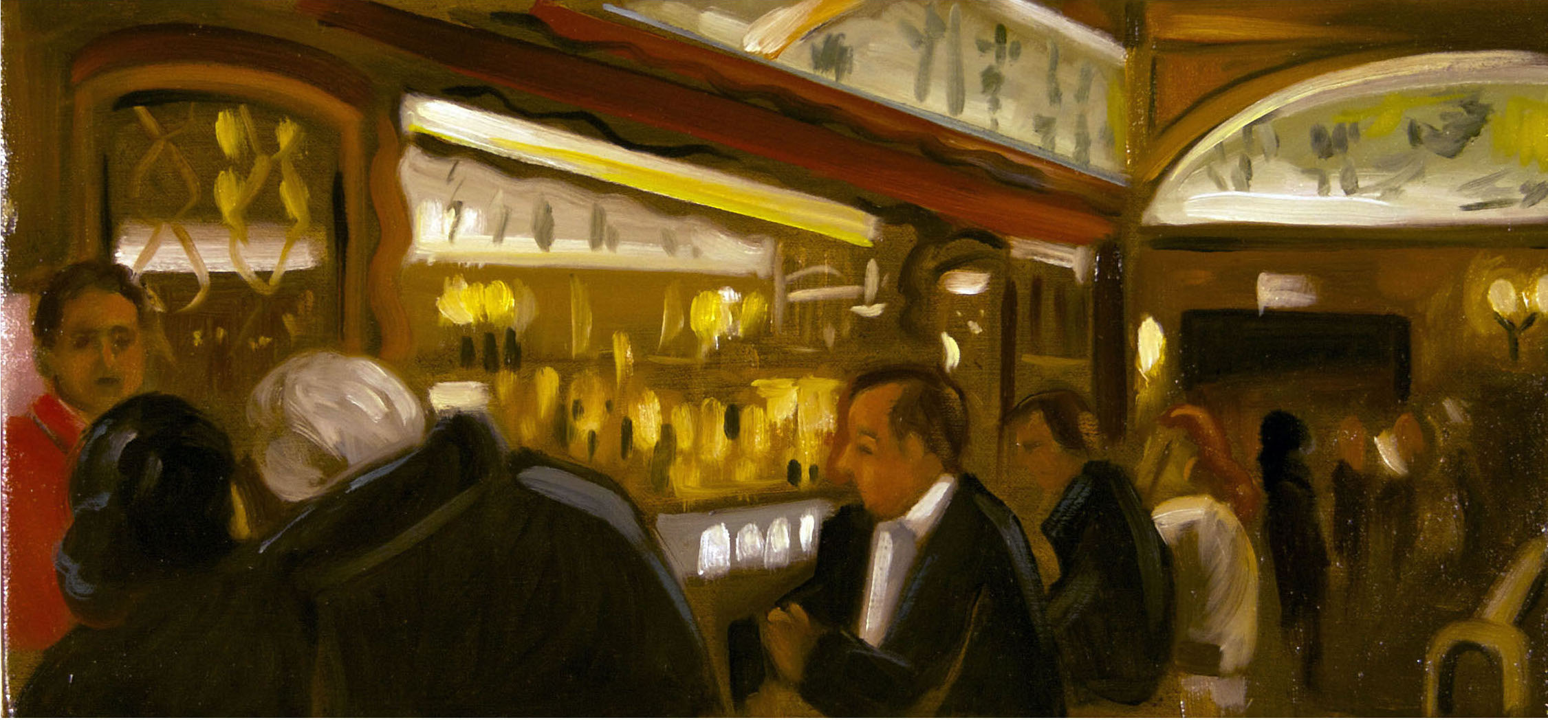 Raul Guerrero  Musso and Frank Grill: Hollywood, 2013  Oil on linen Framed Dimensions: 8 x 16 inches (20.3 x 40.6 centimeters)