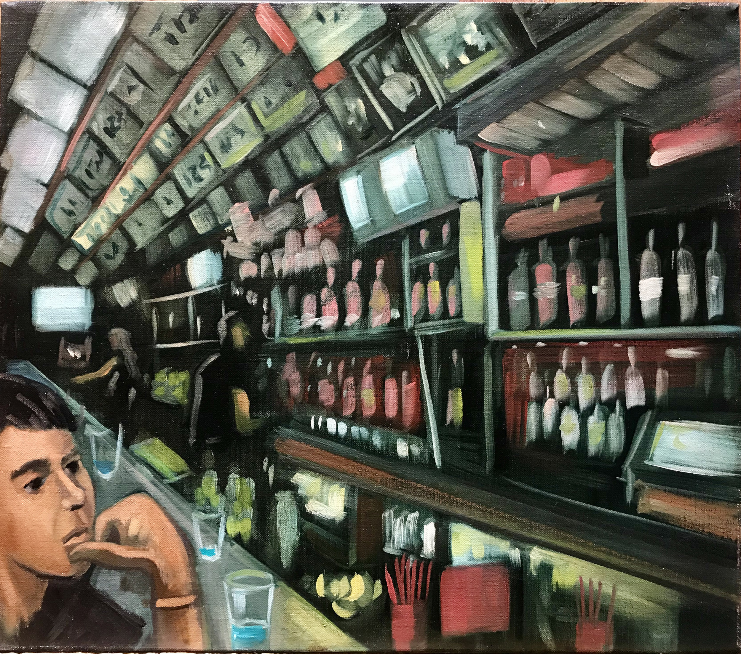Raul Guerrero  Barney's Beanery: West Hollywood c. 1996, 2013  Oil on linen Framed Dimensions: 16 x 18 inches (40.6 x 45.7 centimeters)
