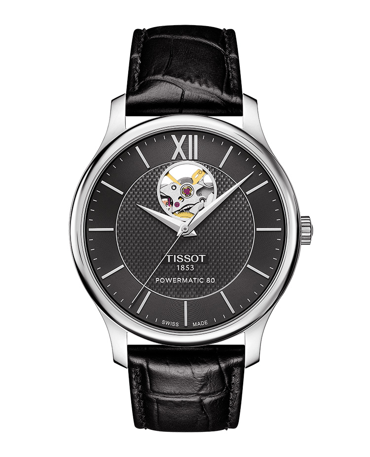 TISSOT TRADITION POWERMATIC 80 OPEN HEART. Ref: T063_907_16_058_00