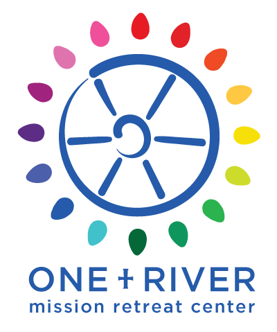 One River | Port Jervis, NY   One River is an interesting summer program offered through a church in Port Jervis, NY. The logo is a combination of the existing church logo (which is a bright, colorful flower burst design) and a water wheel, as a water wheel represents the main aspect of the mission engagements.