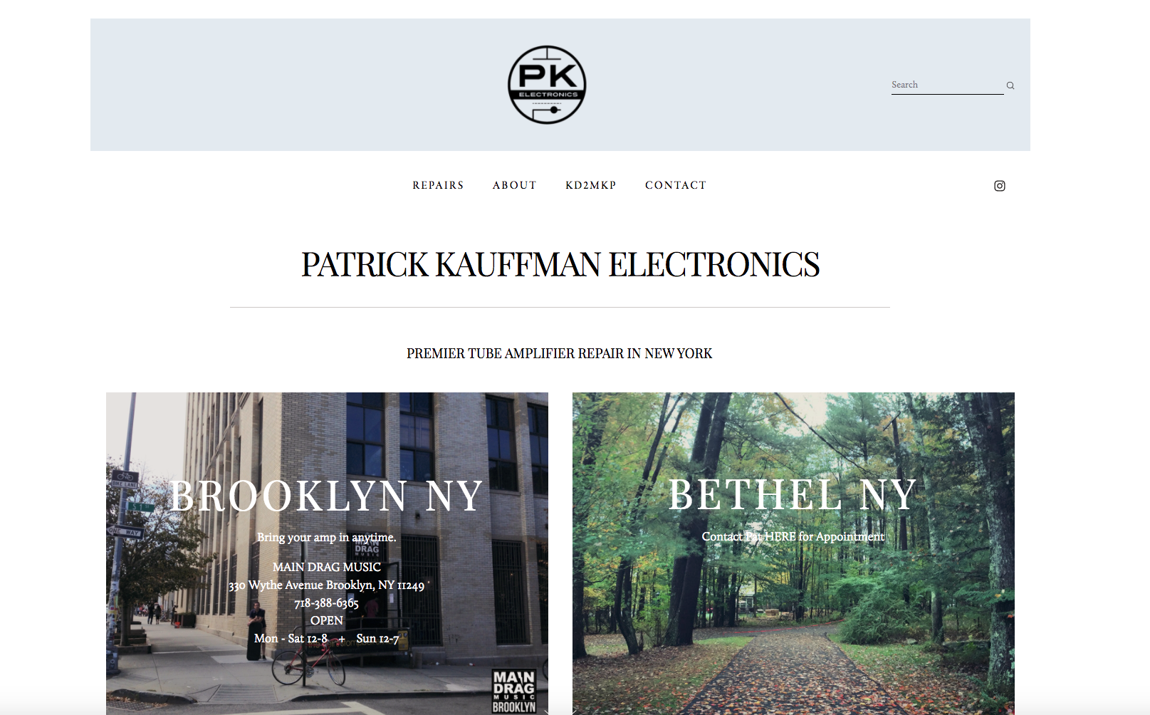 Patrick Kauffman Electronics | Brooklyn and Bethel, NY   Squarespace site for Patrick Kauffman, who is a tube amplifier technician at Brooklyn's Main Drag Music. He also operates out of Bethel, NY.