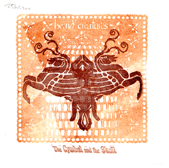 """2008: Heavy Creatures: """"The Cymbal and the Skull"""" CD Cover - hand-stamped cover design"""