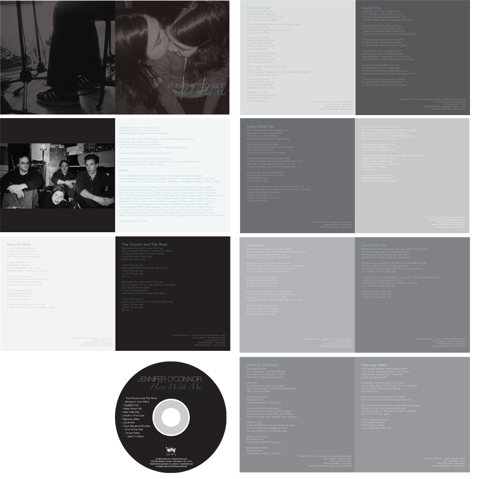 "2008: Jennifer O'Connor: ""Here With Me"" CD Packaging Layout"