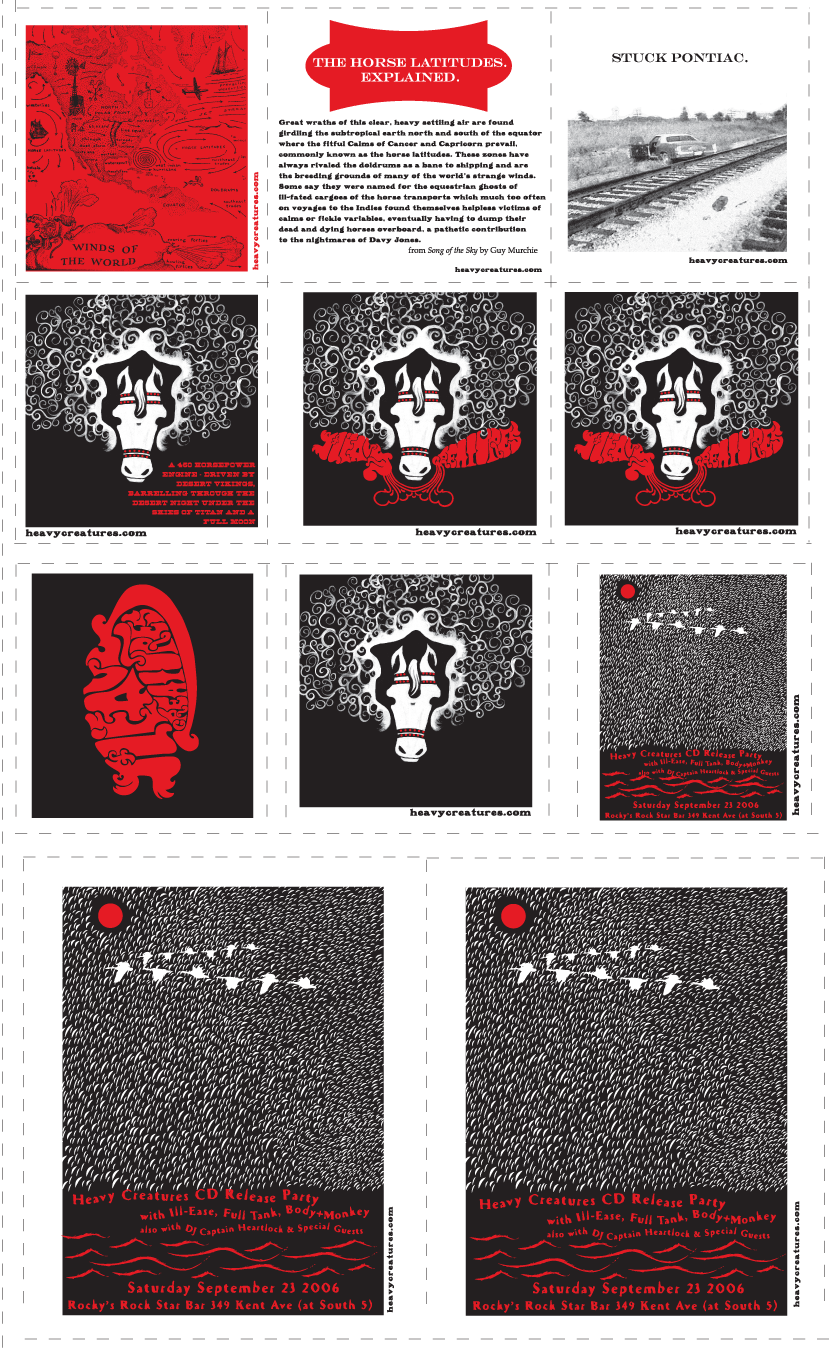2006: Heavy Creatures; Art Cards; Screenprinted by Kayrock
