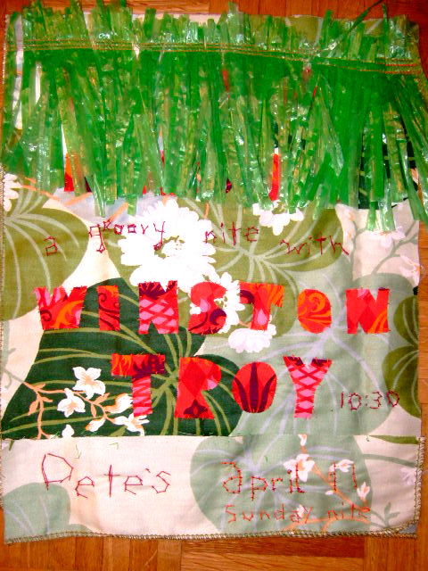 2010: Hand-Sewn Show Poster for a Winston Troy show at Pete's Candy Store - I love Pete's!