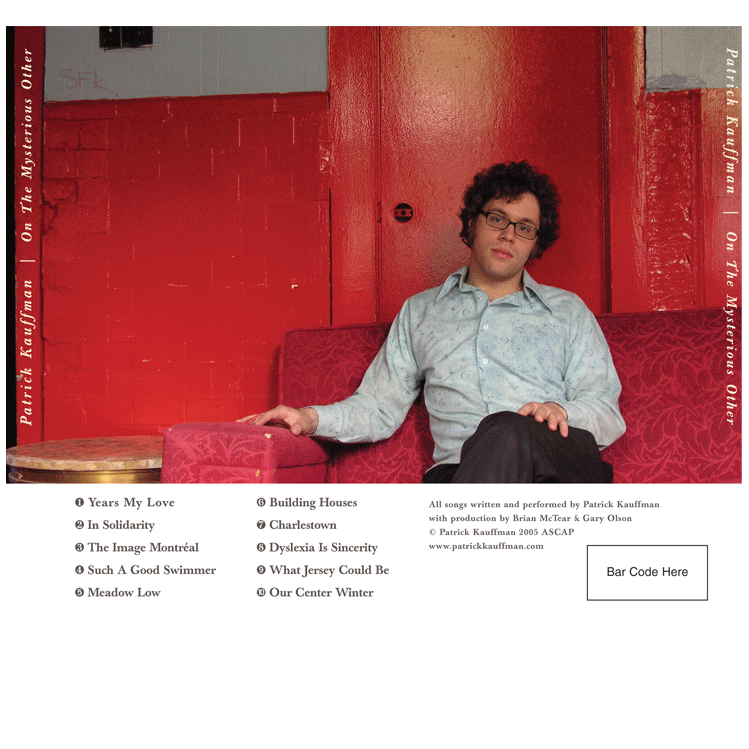 "2004: Patrick Kauffman ""On The Mysterious Other"" CD Cover (back)"