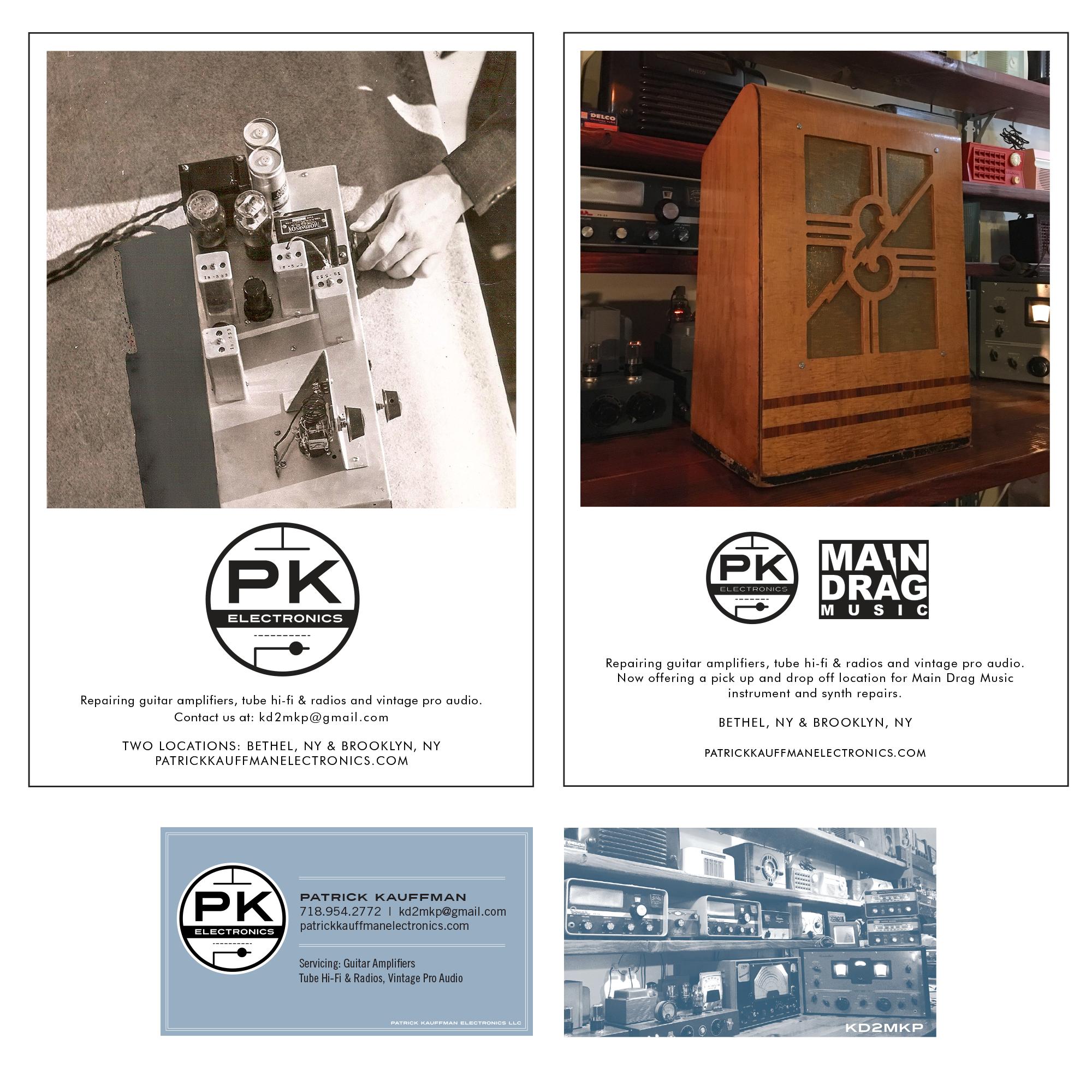 Patrick Kauffman Electronics   Brooklyn, NY   Top: Print Ads for DV8 Magazine Bottom: Business Card