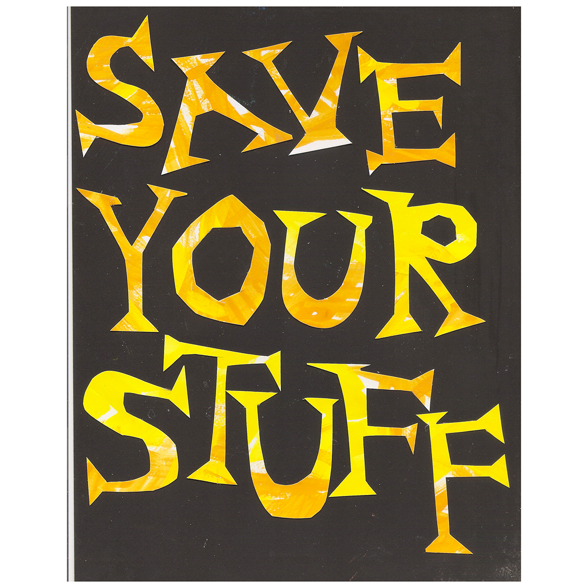 """Save Your Stuff Zine   Berkeley, CA   Collage and cut-paper cover design sketch for a collaborative zine project with Grammy-nominated Mastering Engineer Jessica Thompson titled """"Save Your Stuff! Beginner's Archiving For Musicians"""". She authored the zine, while I provided the design, illustrations, and layout. This wasn't used in the final zine, but it's so cute!"""