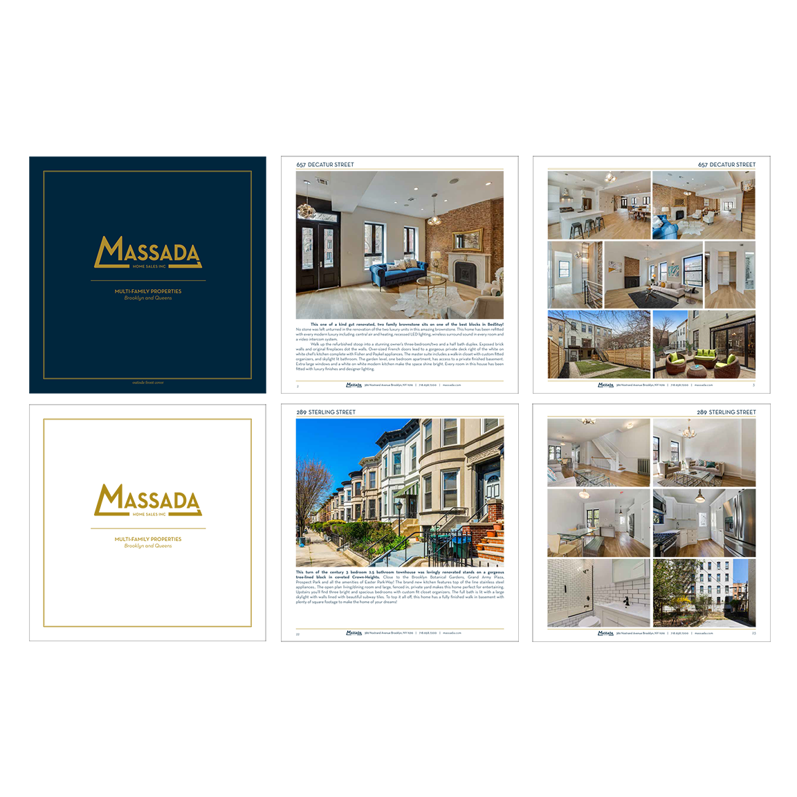 Massada Real Estate   Brooklyn, NY   Sample page layout for a property look book.