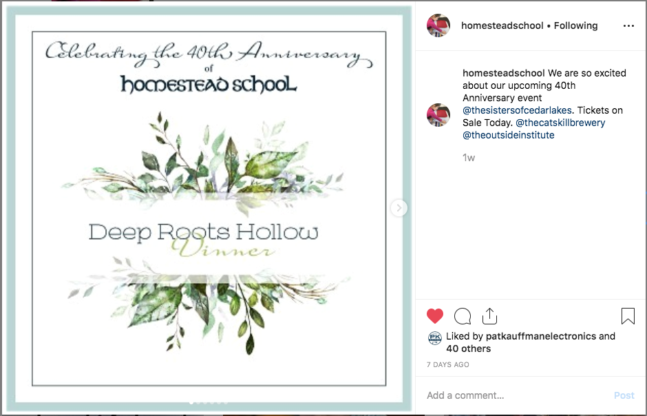 Instagram  Series Post Image #1 of Homestead School's upcoming 40th Anniversary Dinner.