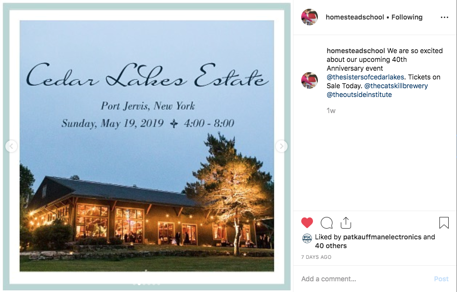 Instagram  Series Post Image #2 of Homestead School's upcoming 40th Anniversary Dinner.