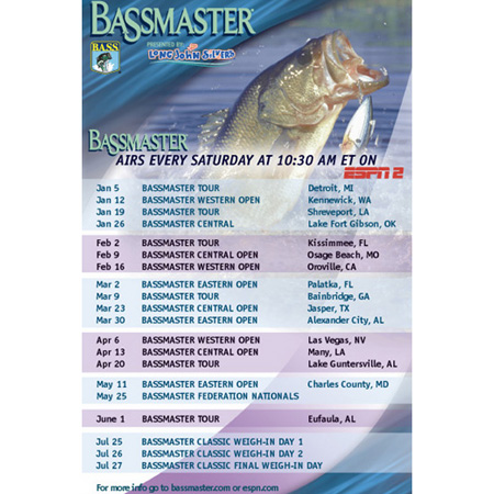 2001: ESPN Classic | New York, NY   Table tent advertising Bassmasters
