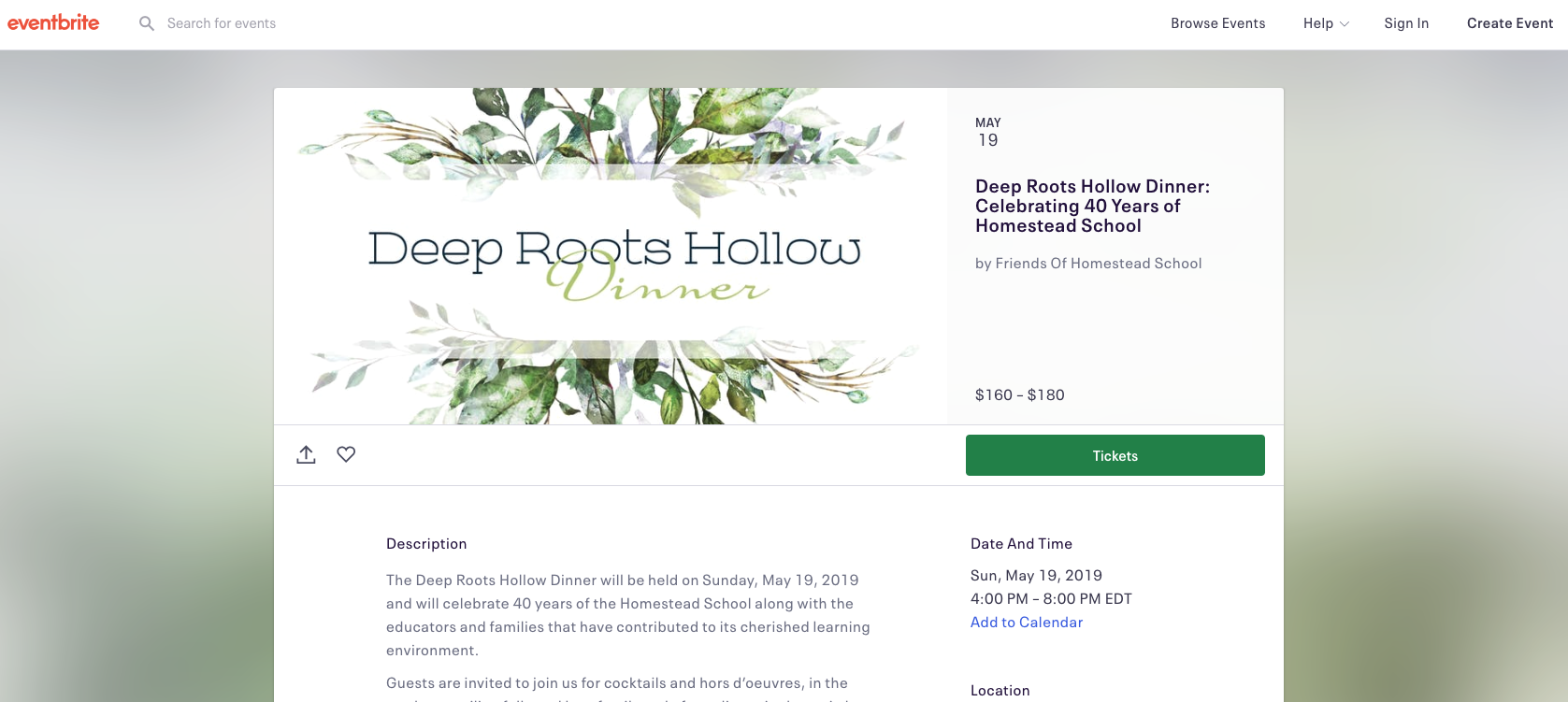 Eventbrite  Brand applied to  Eventbrite  for Homestead School's upcoming 40th Anniversary Dinner.