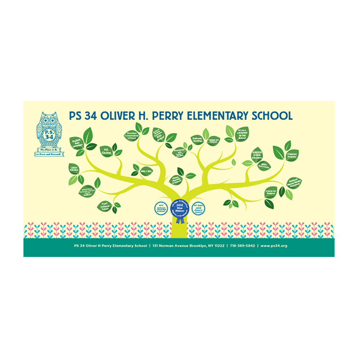 2016: PS 34 Elementary School | Brooklyn, NY   Banner showing the school offerings