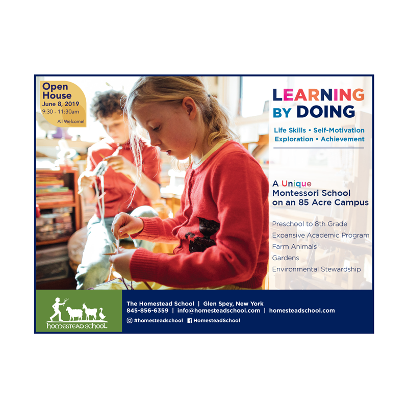 Homestead School   Glen Spey, NY   2019 Print ad for Homestead School