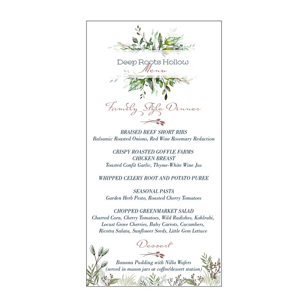 Friends of Homestead School   Glen Spey, NY   Menu card for an anniversary dinner event honoring Homestead School.