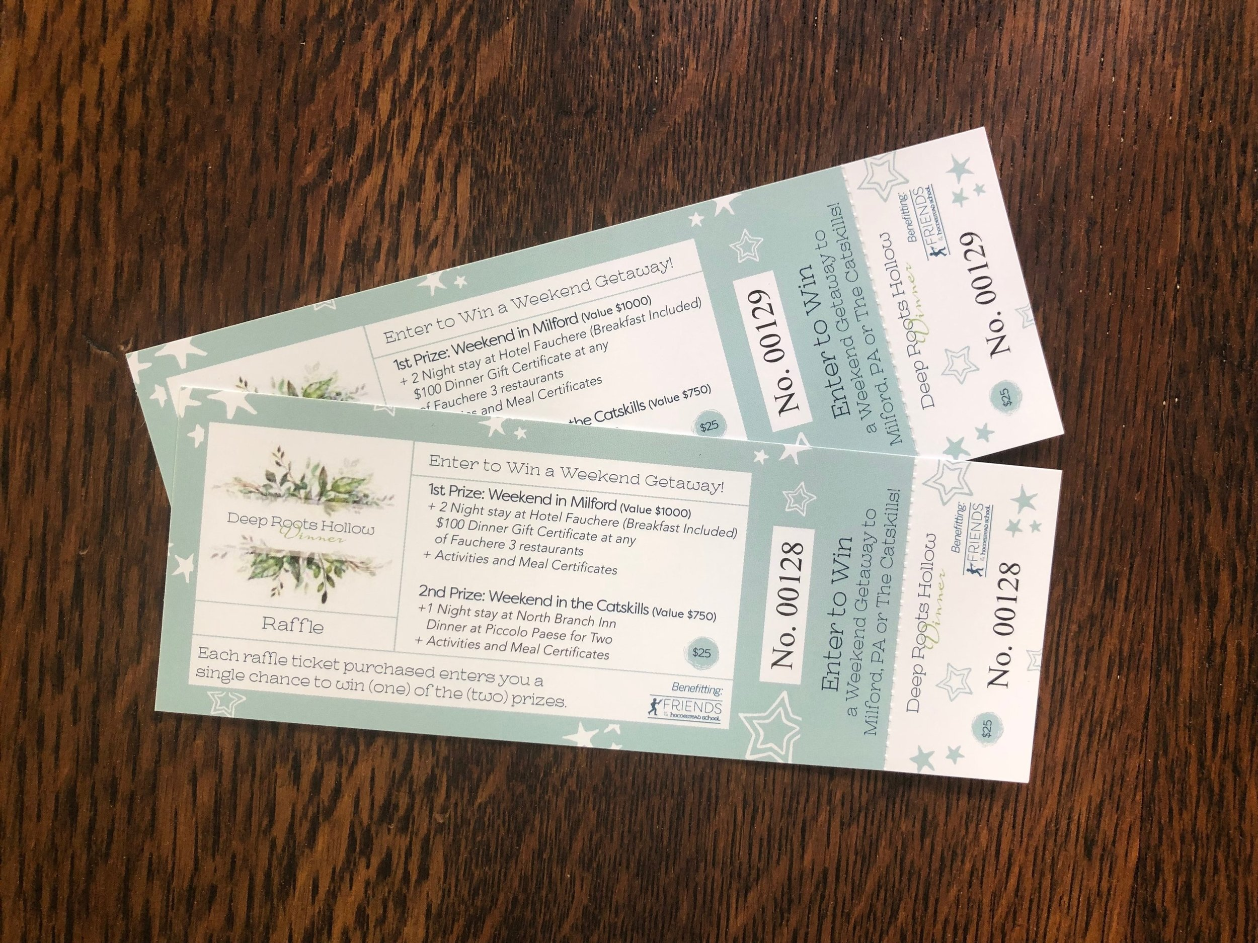 Friends of Homestead School   Glen Spey, NY   Raffle Ticket design for an anniversary dinner event honoring Homestead School.