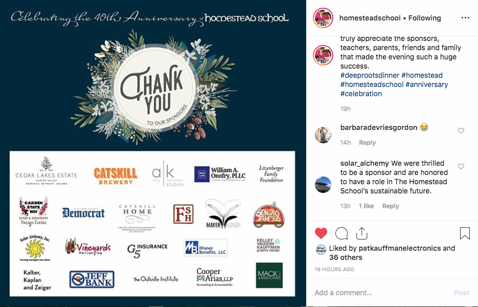 Instagram  Post Image thanking corporate sponsors for Homestead School's upcoming 40th Anniversary Dinner.