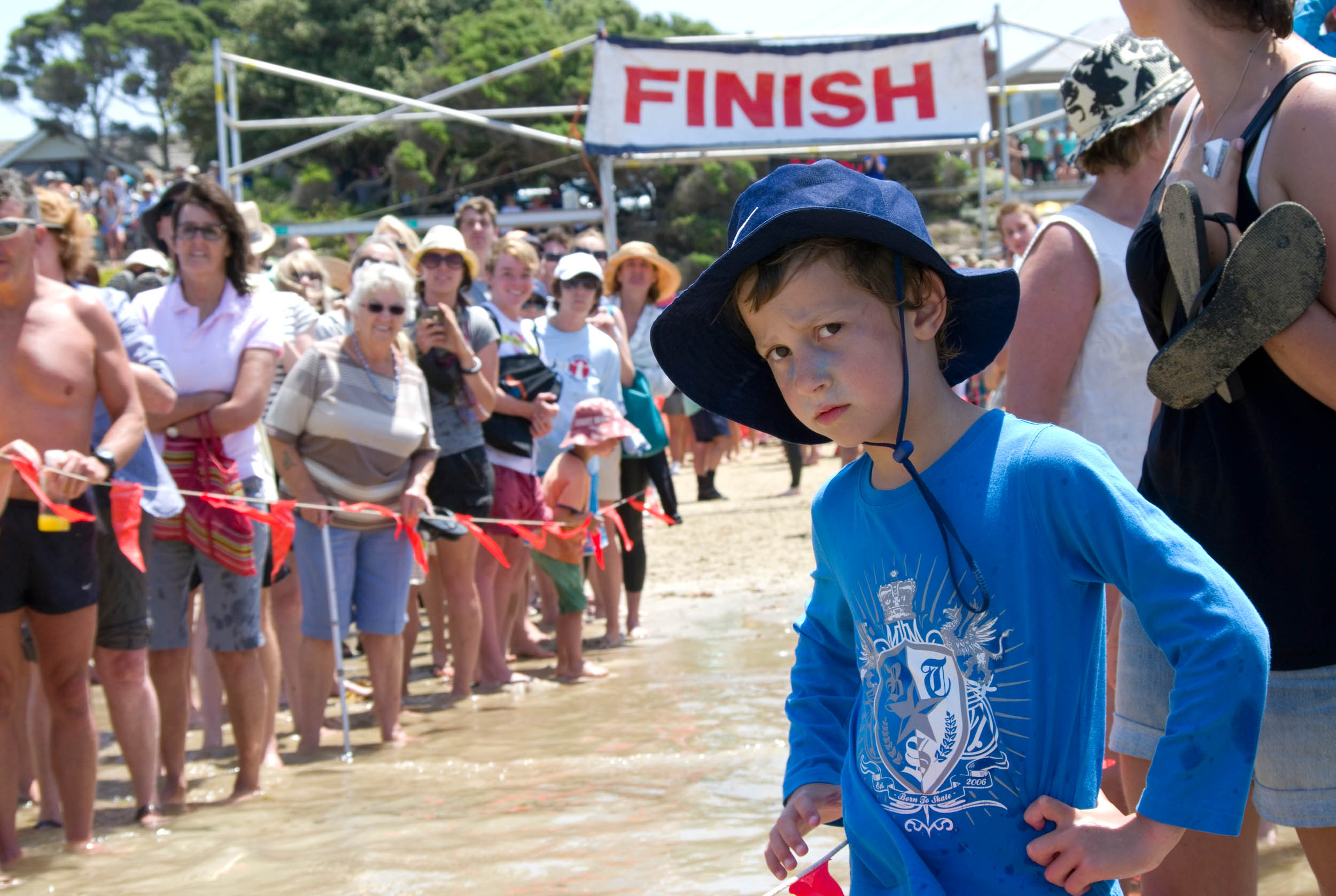Finish Line: Point Lonsdale ocean swim, Victoria, 2013