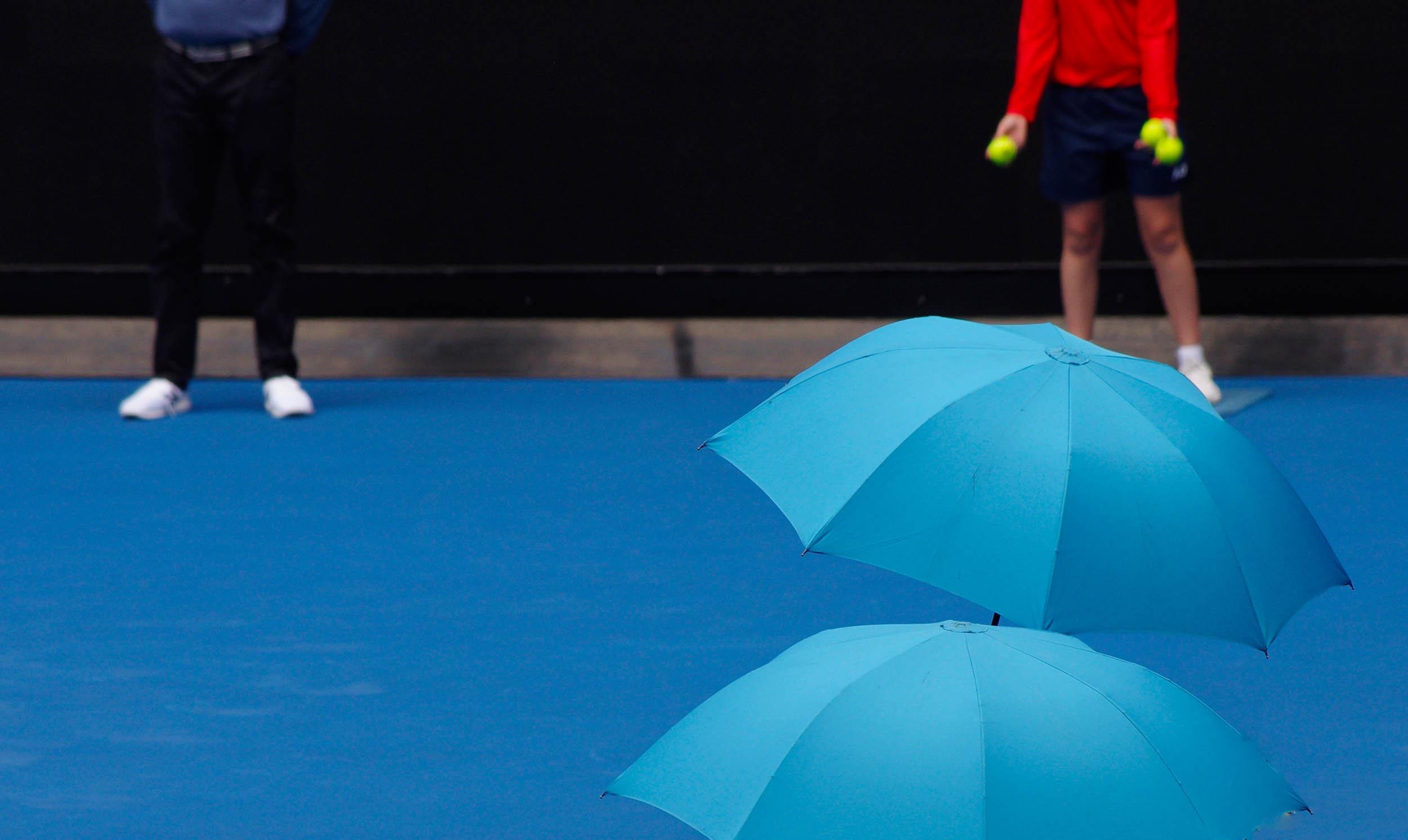 Blue Umbrellas: Australian Open tennis, Melbourne January 2019