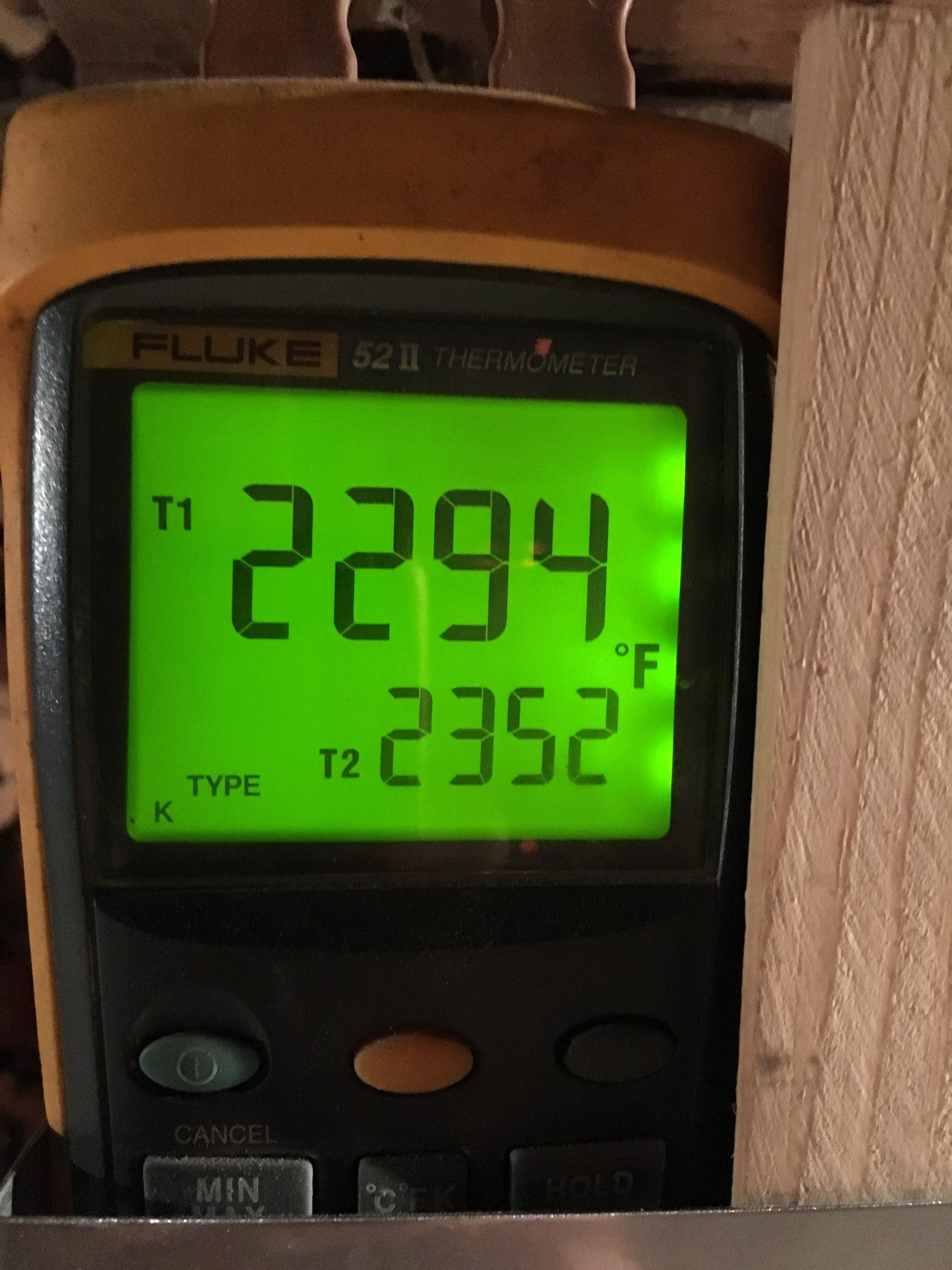 peak temp in the noborigama
