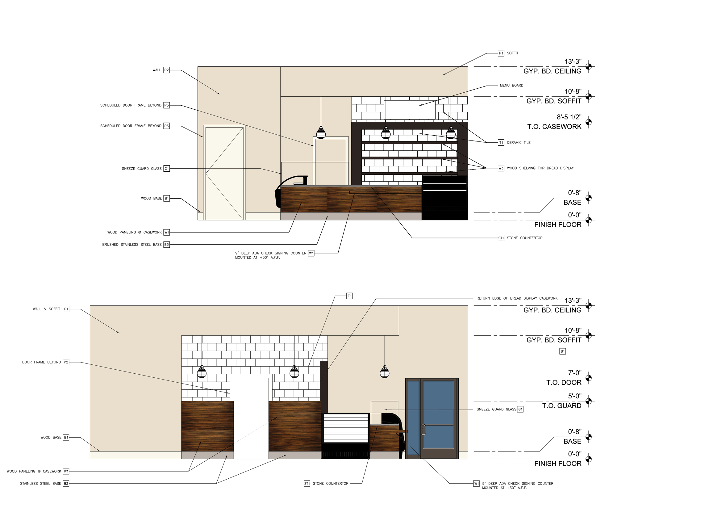 Interior Elevations with Finish Design Selections