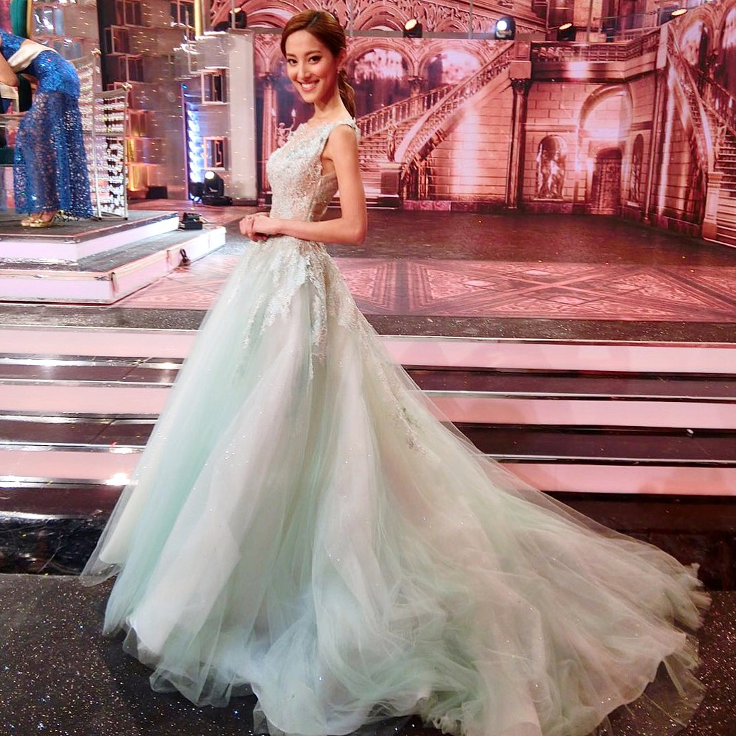 Grace in our mint green lace evening look as the judge panel at the Miss Chinese Internation Pageant 2016