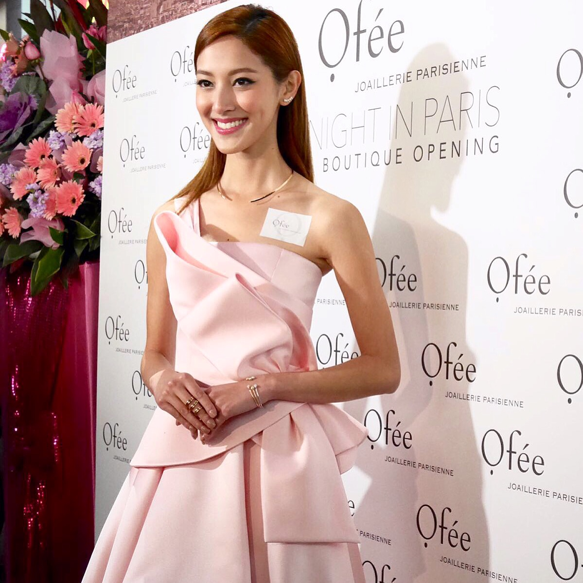 Grace in her custom made satin cocktail dress in Pink at the Ofee Jewellery boutique grand opening event