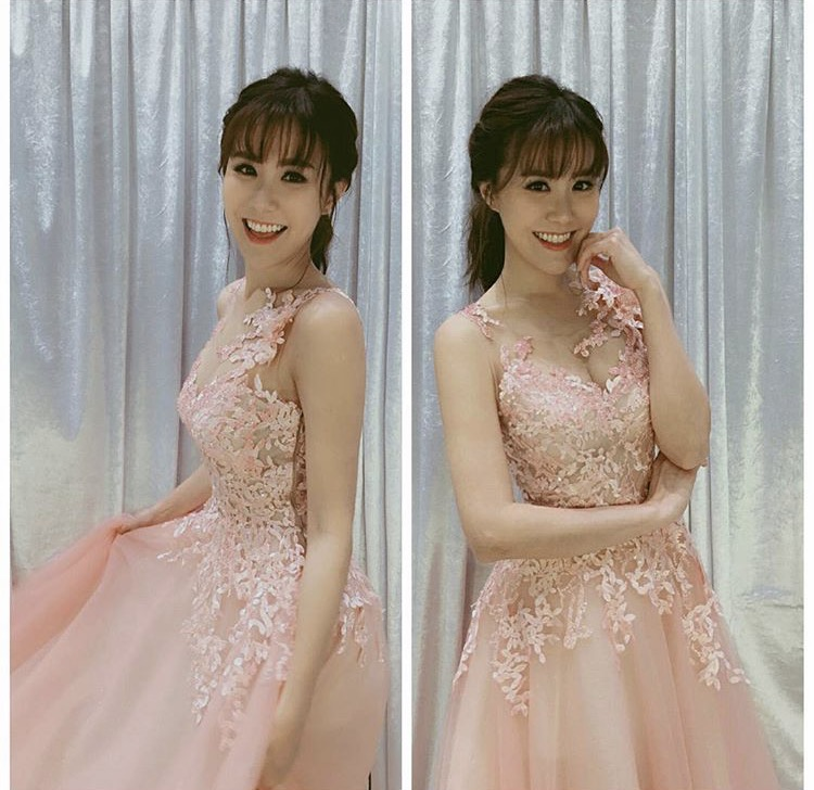 Moon in her custom-made lace tulle gown attending the TVB Birthday Show event