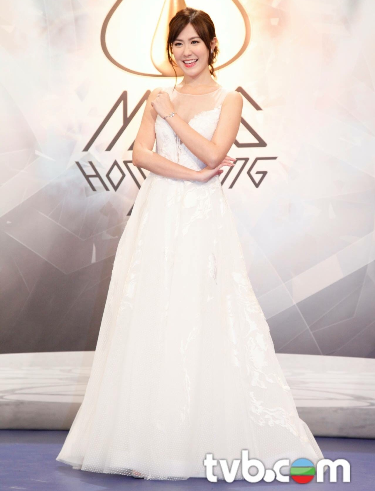 Moon in our white evening look at the Miss Hong Kong 2016 show event