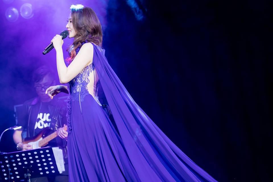 Dark Purple lace chiffon dress with chiffon cape