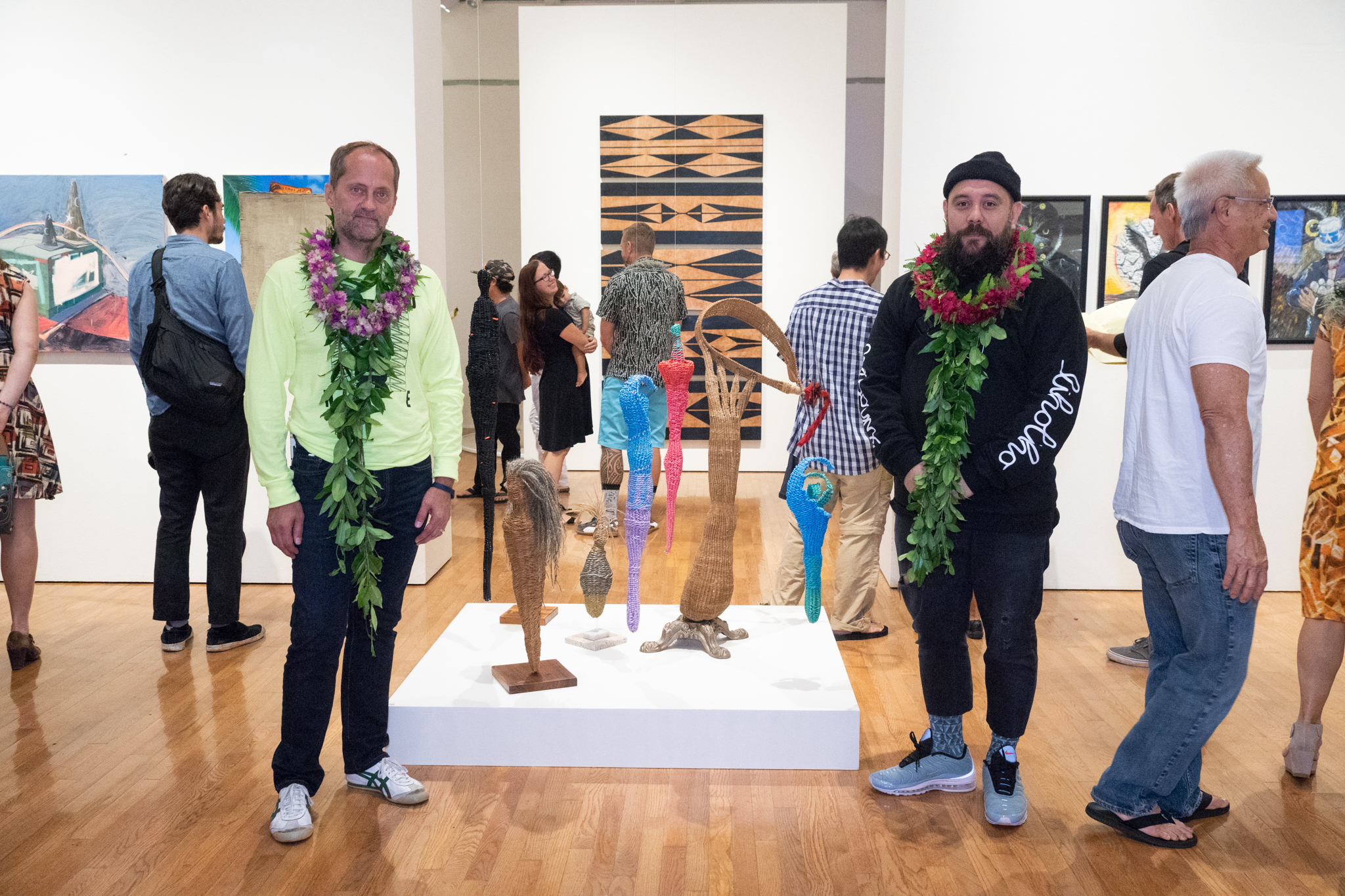 Installation view of THE CONTACT ZONE. (2018) with curators Michael Rooks and Keola Naka'ahiki Rapozo