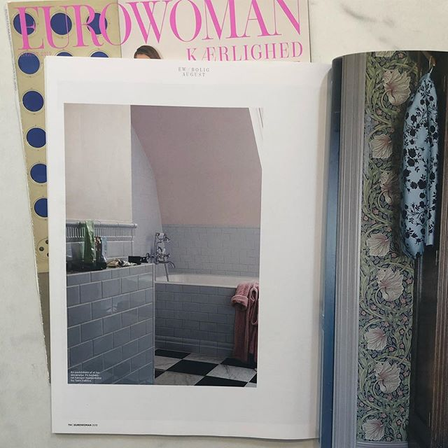 Lovely bathroom of @vickymariafogel in the august issue of #eurowoman #victoriatiles #bistrottaps #aquadomo_dk