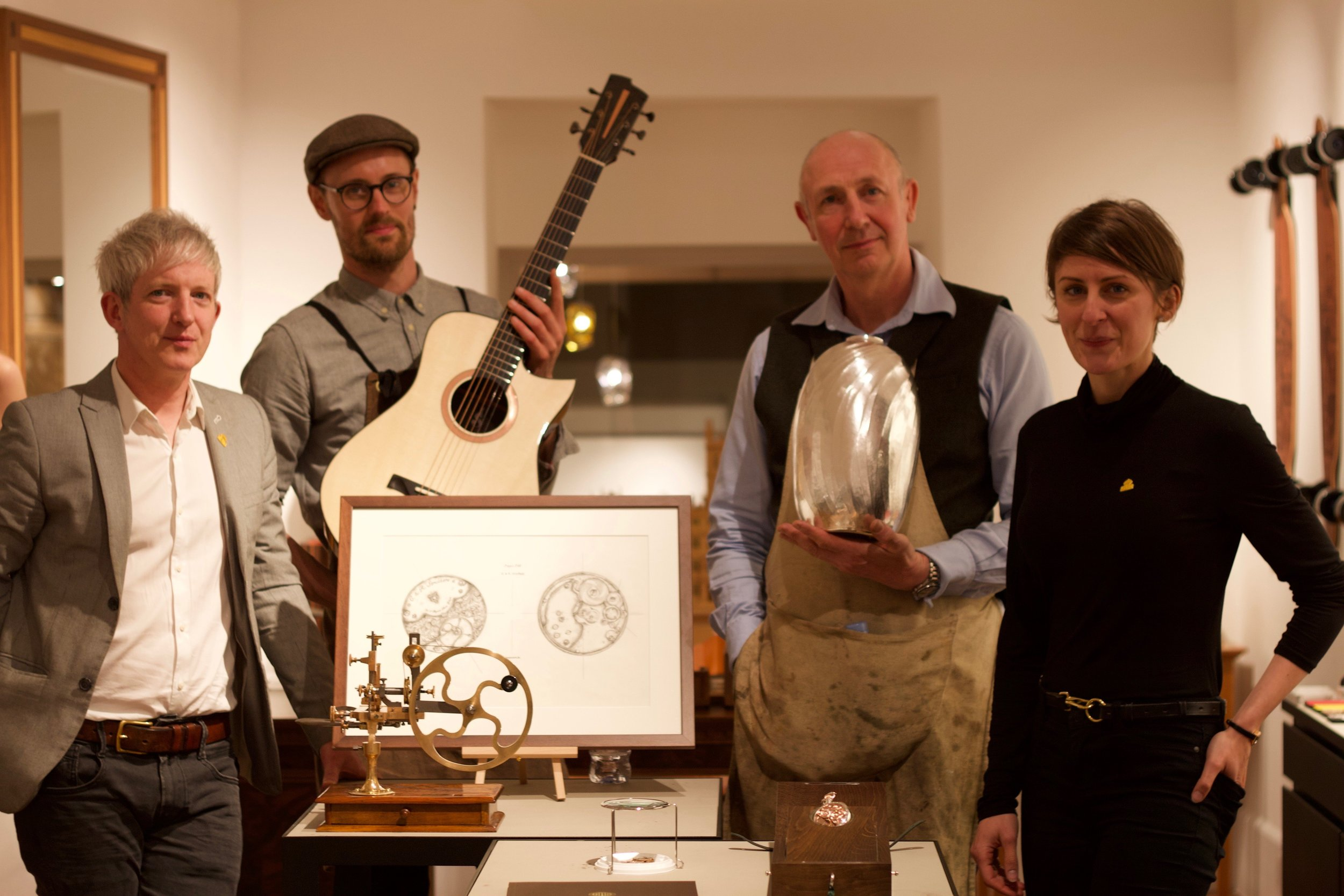 Linley Showroom with Horologists Craig and Rebecca Struthers, and Designer Silversmith Wayne Meeten.