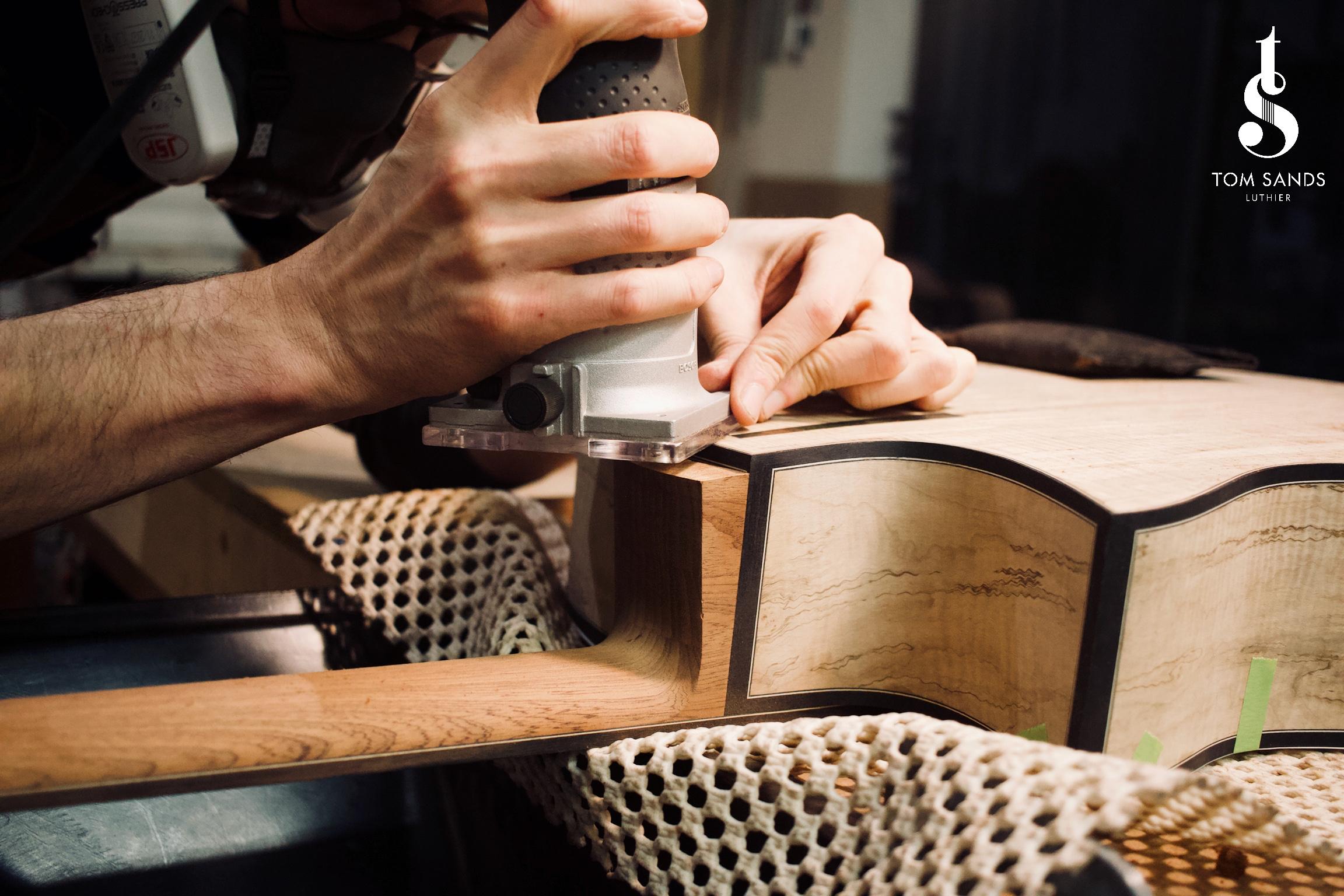 Cutting the neck heel to receive the heel cap.