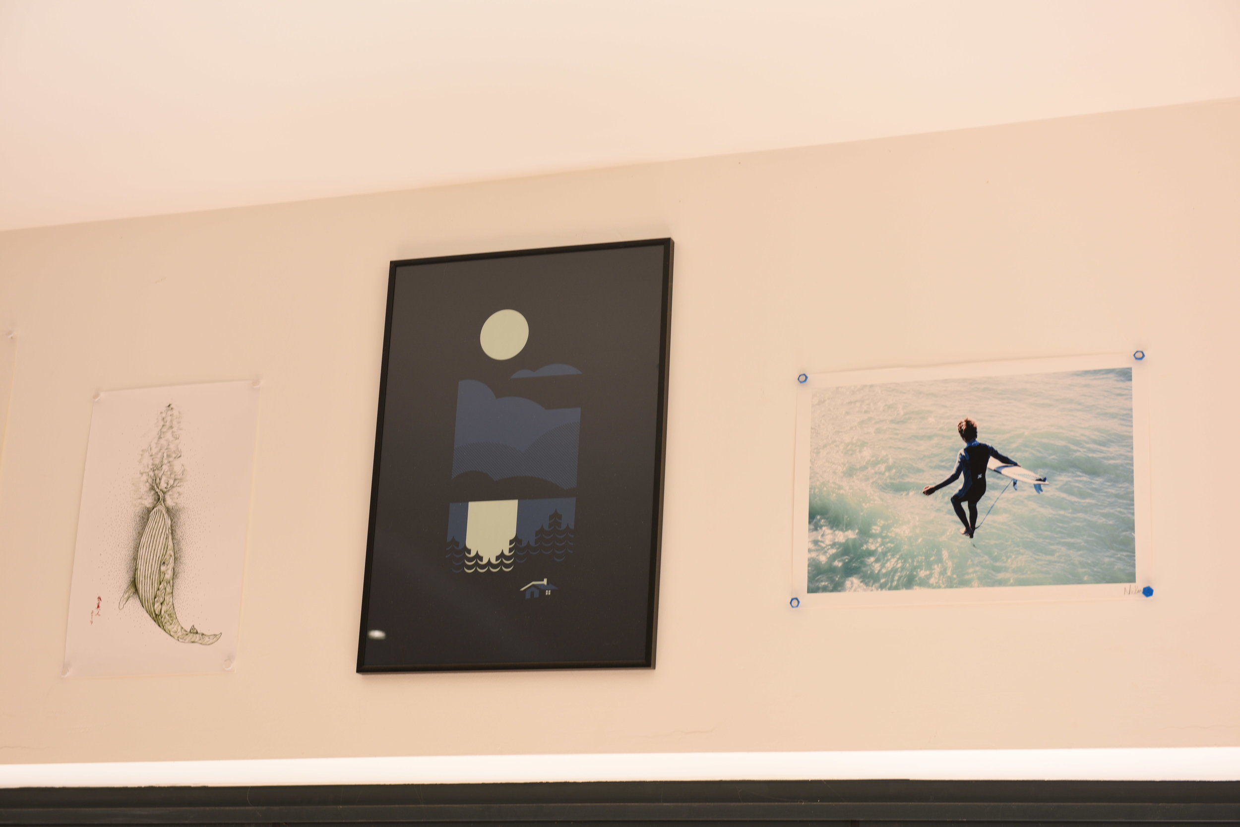 Cultivation of other artists' work on walls.