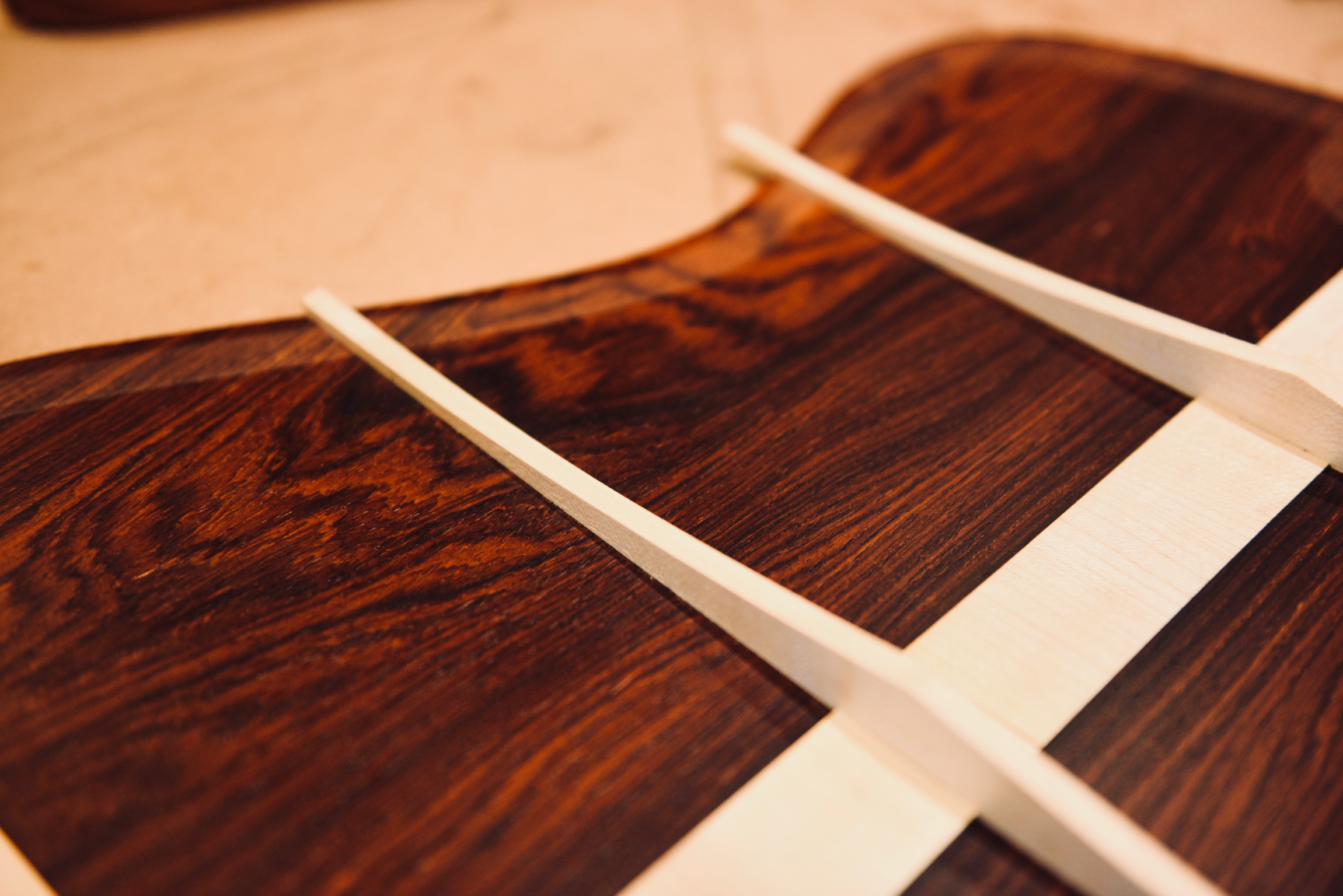 Cocobolo back ready to be glued when the guitar has been voiced.