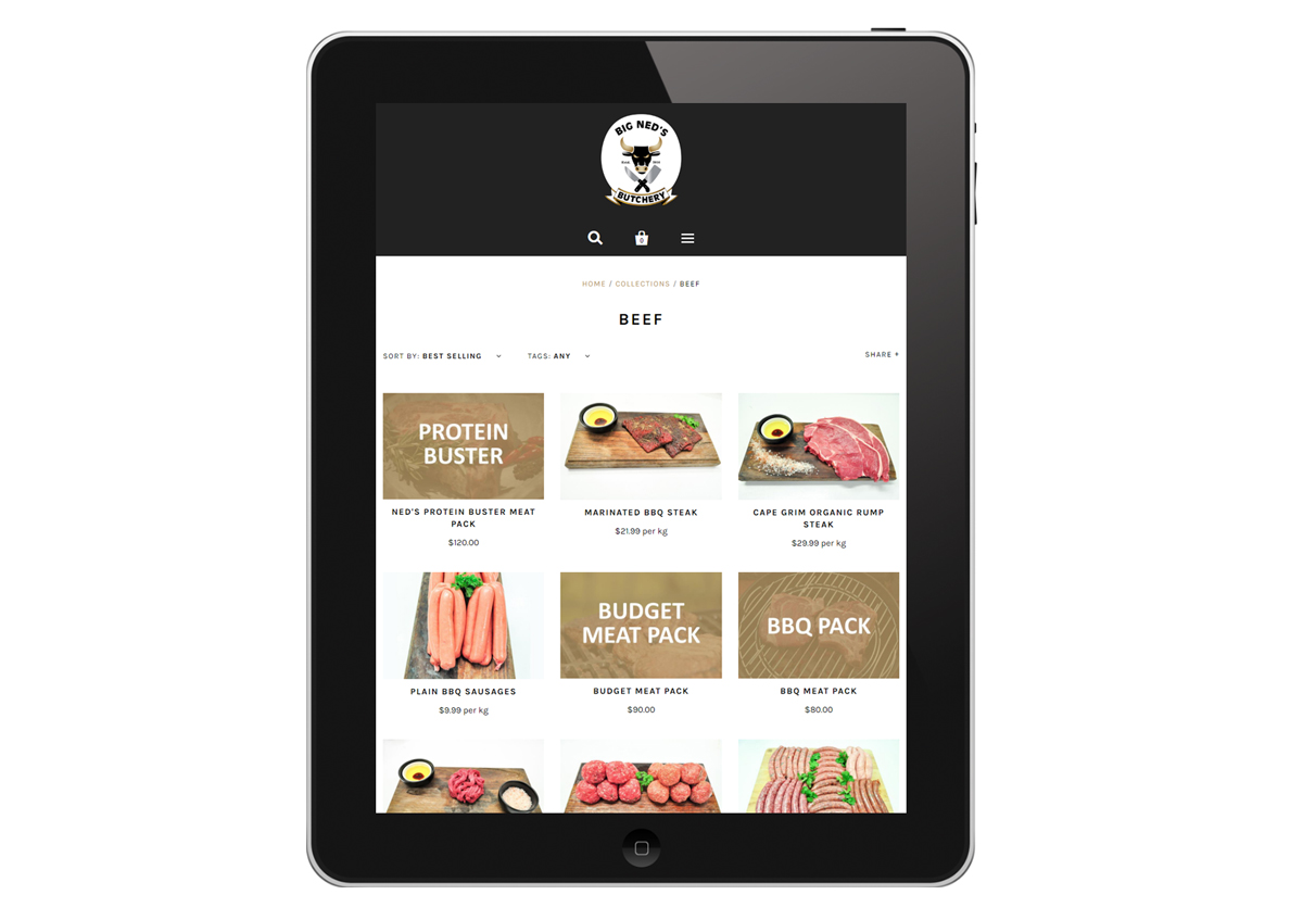Big Ned's Butchery - responsive eCommerce solutions