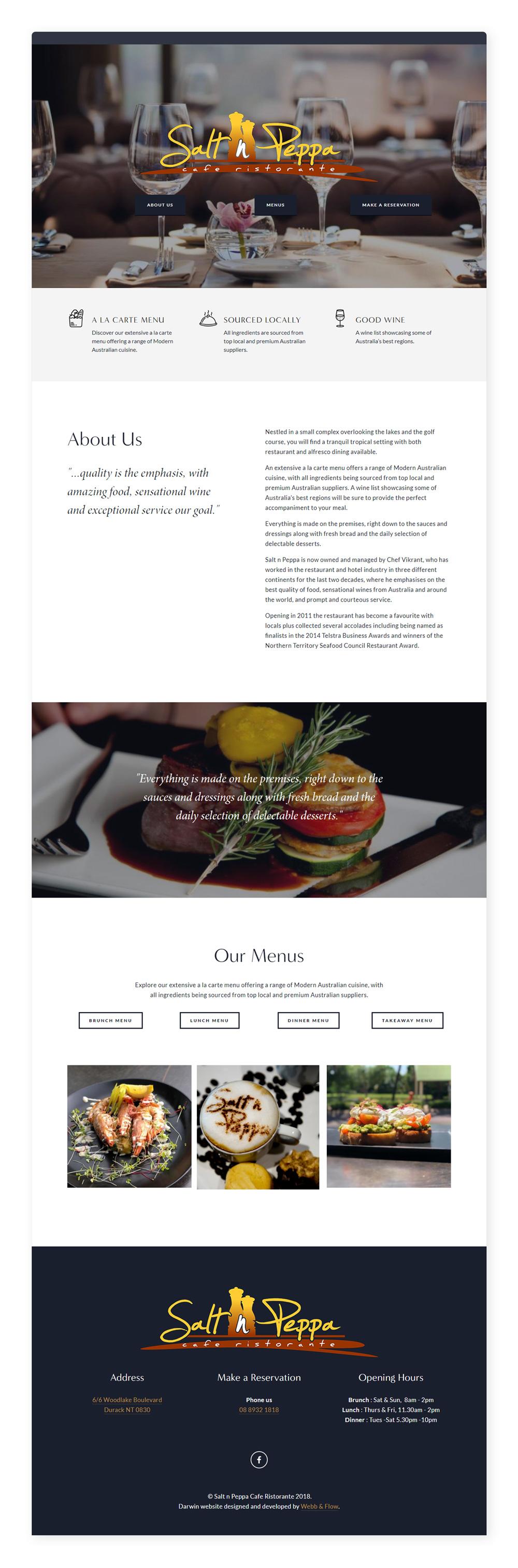Sal n Peppa website retail food cafe restaurant