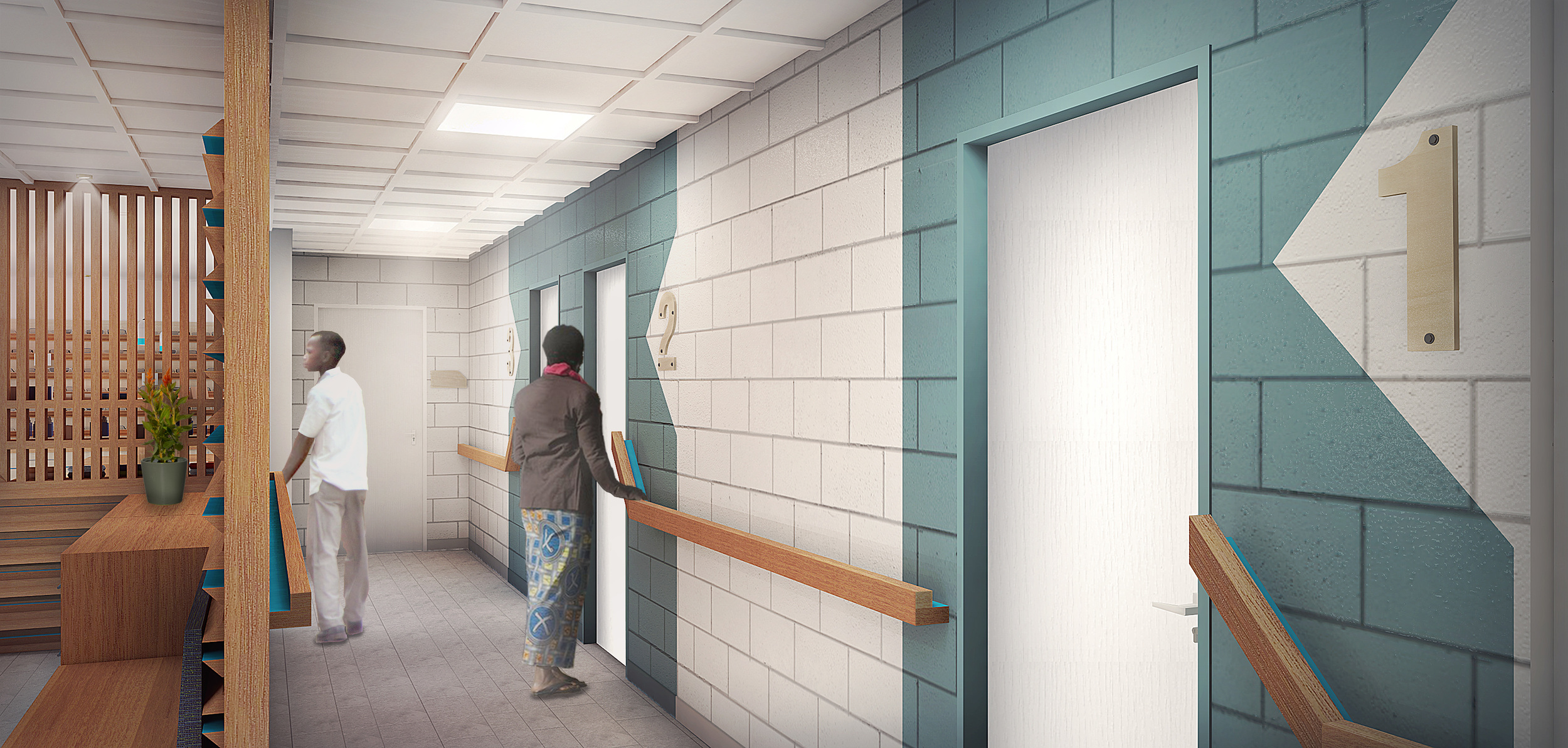 Hallway showing Exam rooms, graphics and signage as well as the handrail.
