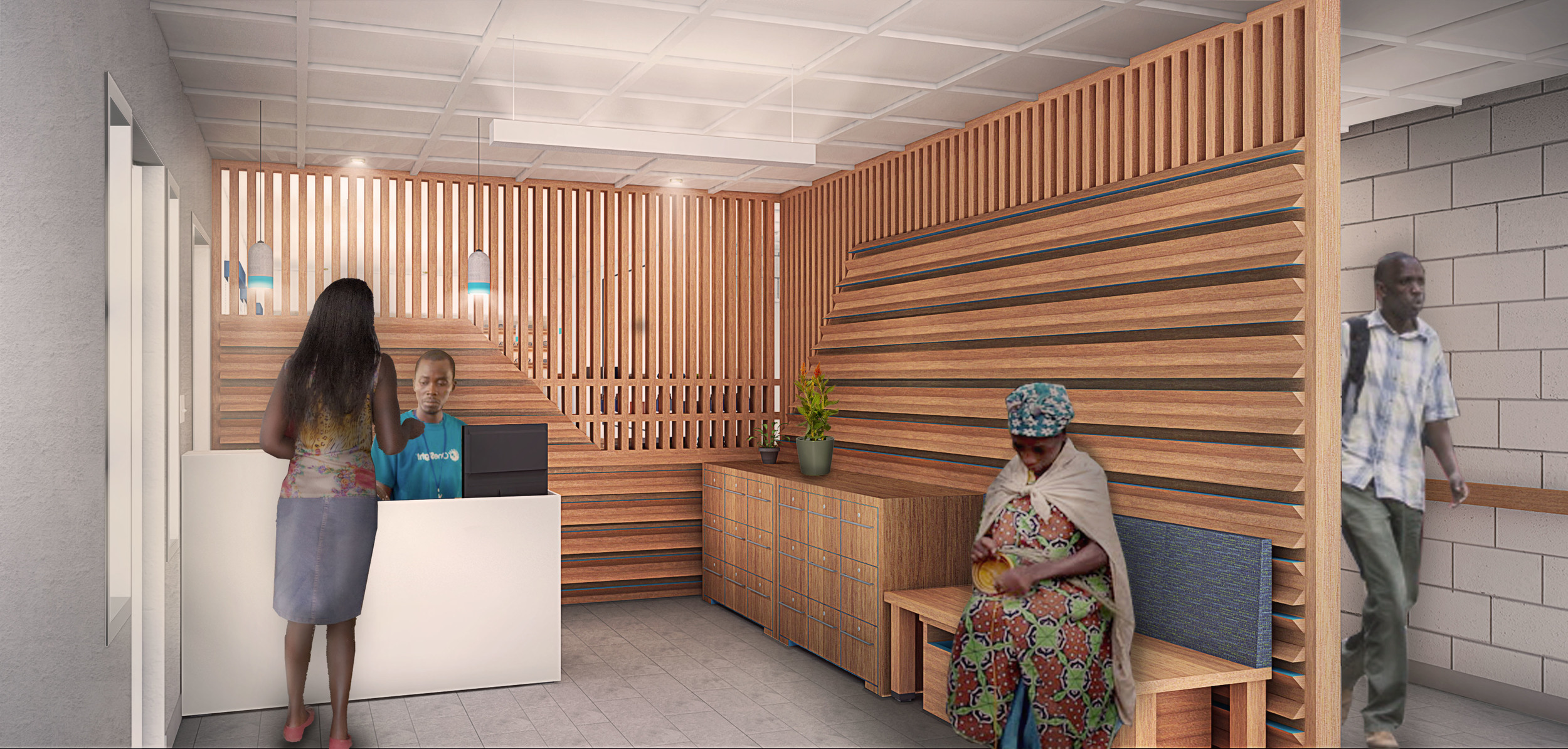 Reception Area featuring the Welcome Wall, seating and file storage.