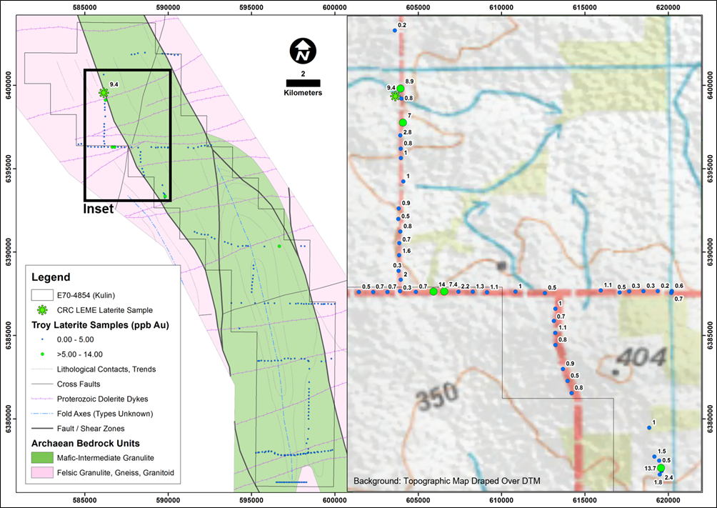E70/4854 (Kulin Project) showing previous lag sampling coverage and gold results. Note: The geology is based on geophysical interpretation and modelling as explained in the Independent Technical Assessment Report within Cygnus' Prospectus dated 22 November 2017.
