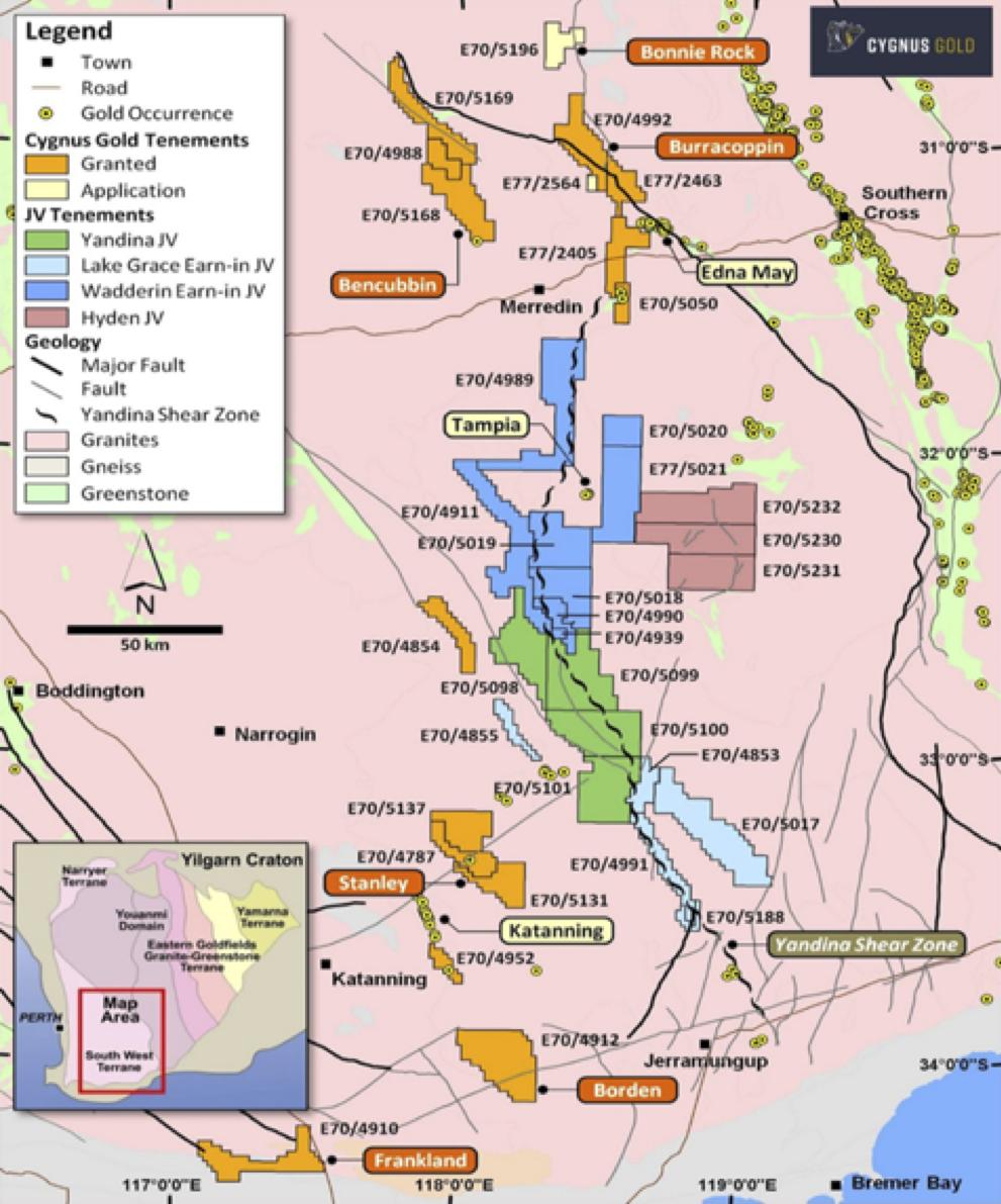 Location of Cygnus' Projects, Southwest Western Australia.