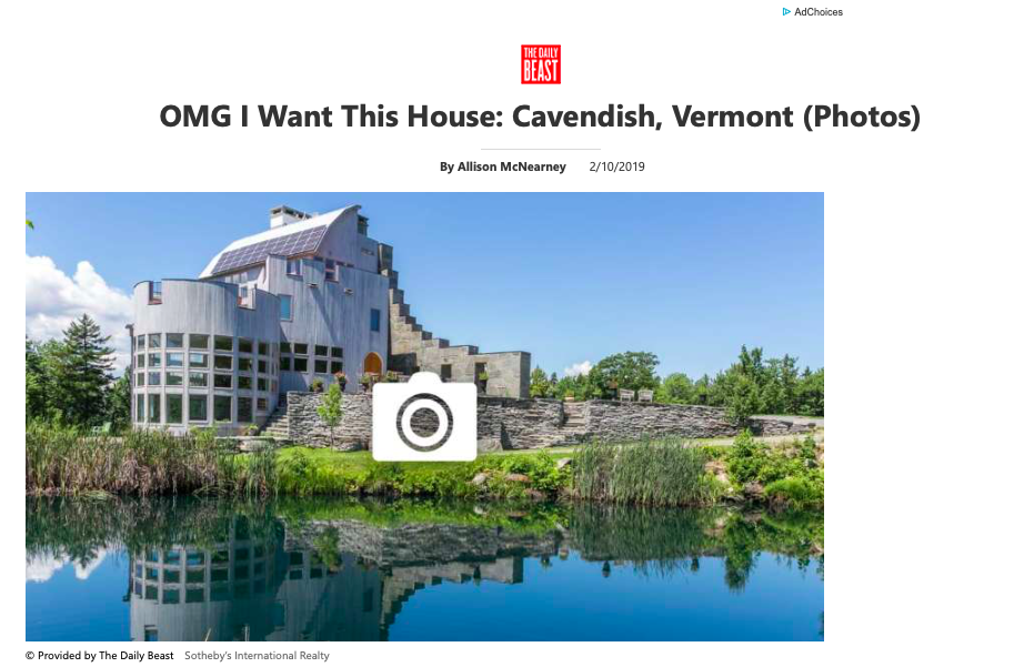 """OMG I Want This House: Cavendish, Vermont"" - February 10, 2019. The Daily Beast"